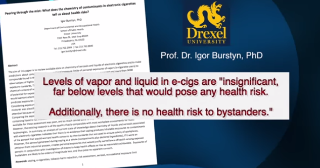 No Health Concerns in E-Cig Vapor!